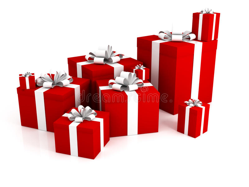 3d背景把礼品查出的白色装箱 向量例证