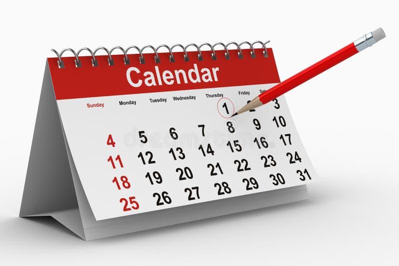 3d背景日历查出的白色 向量例证