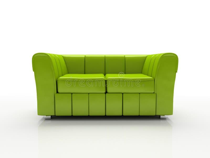 3d背景绿色被绝缘的沙发白色 皇族释放例证