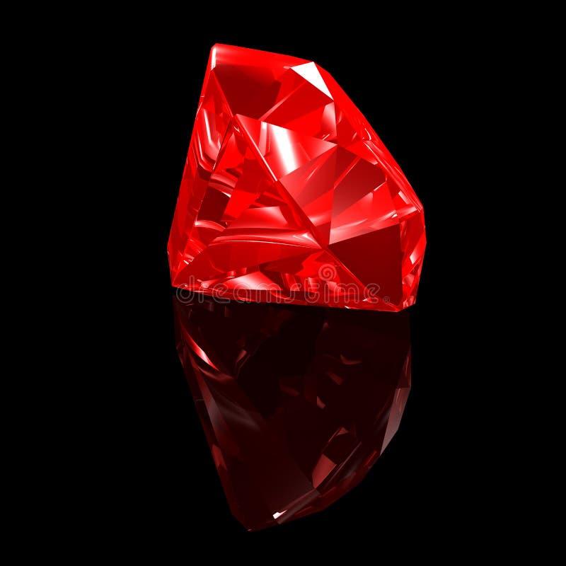 3d背景黑色红宝石 库存例证