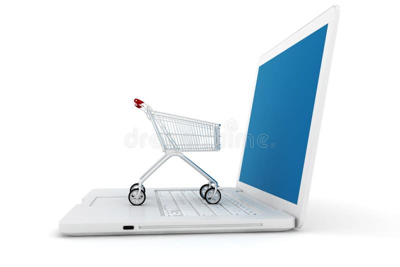 3d膝上型计算机和购物车 库存例证