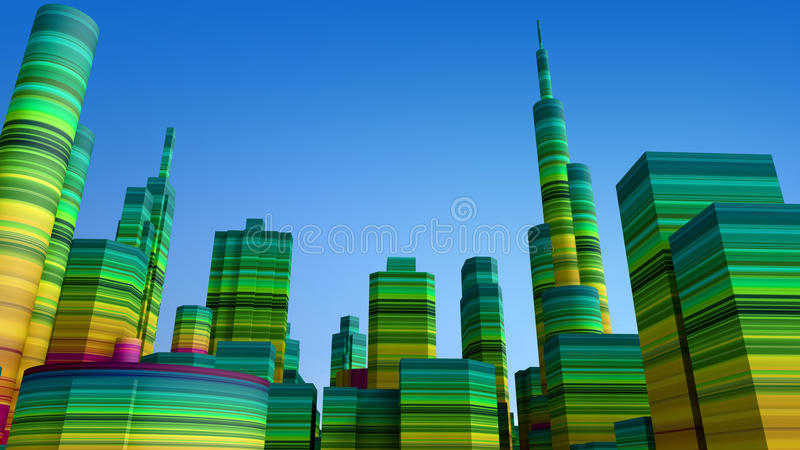 3d色的城市 库存例证