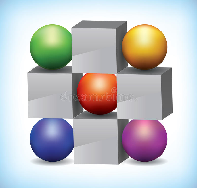 3D色的范围和灰色多维数据集的例证 库存例证