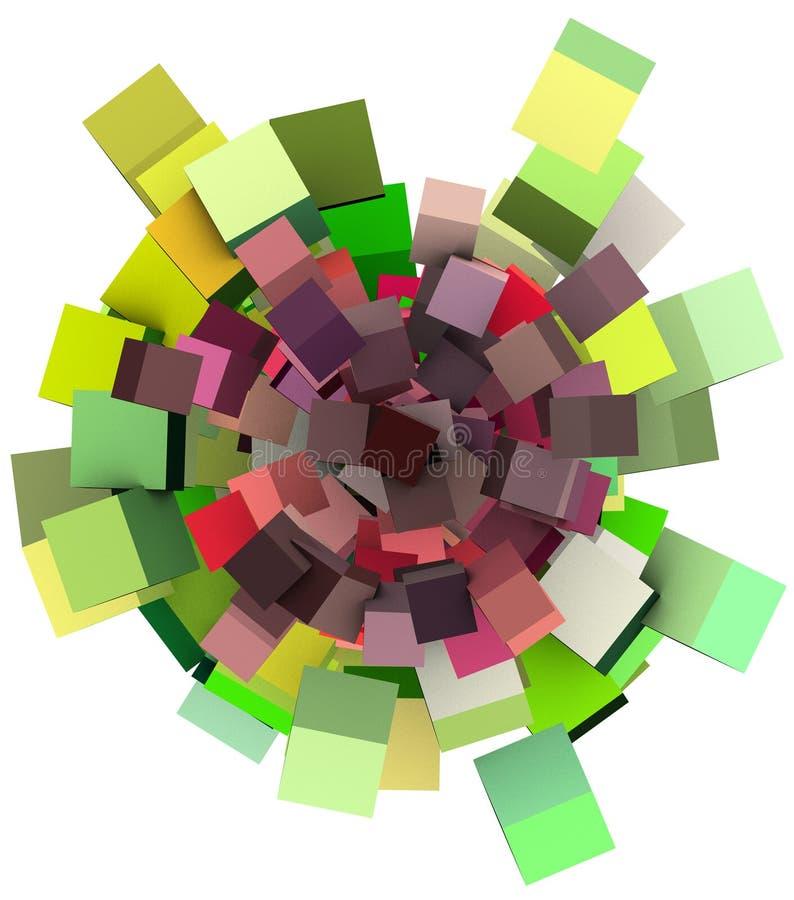 3d花卉绿色模式紫色白色 库存例证