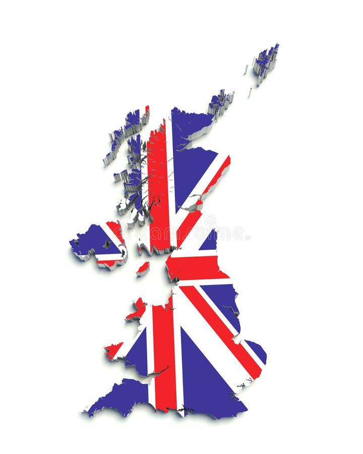 3d英国标志巨大映射白色 向量例证