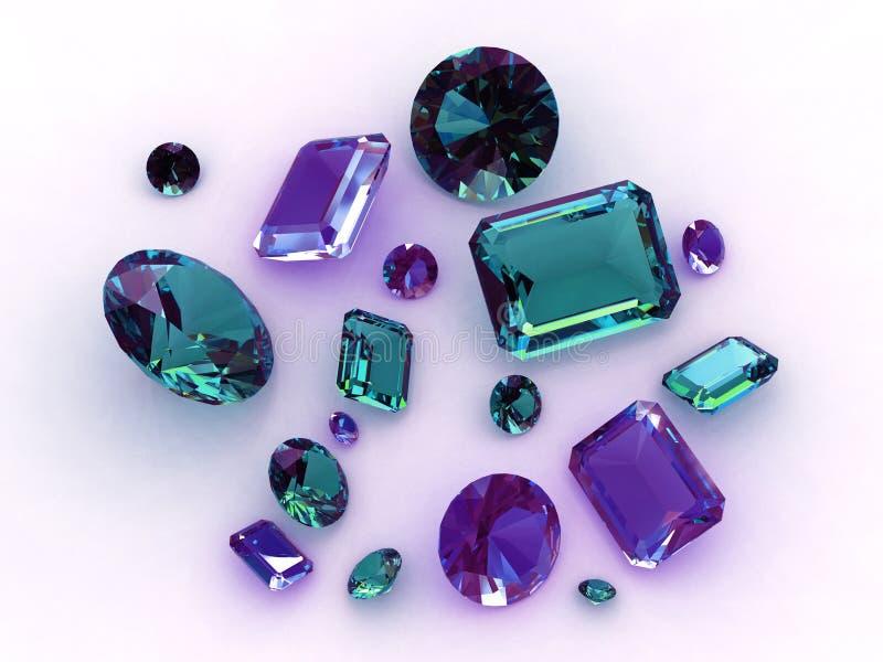 3d蓝绿色美好的宝石集 向量例证