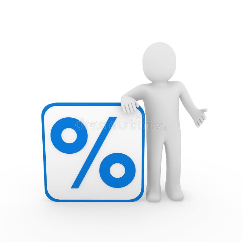 3d蓝色人百分比销售额 库存例证