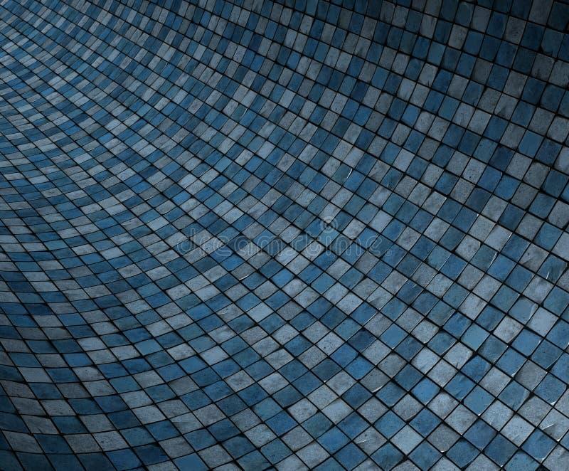 3d蓝色凹面弯曲的grunge马赛克表面 皇族释放例证