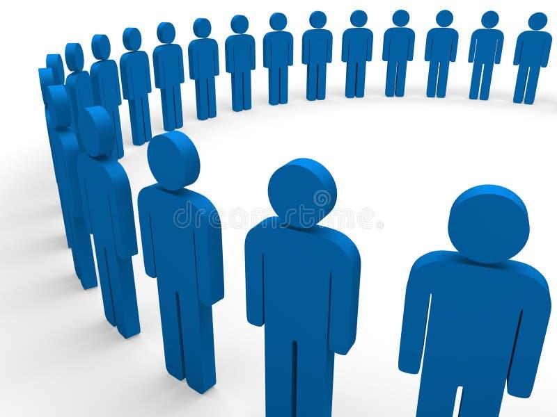3d蓝色圈子小组 向量例证