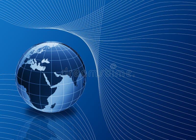 3d蓝色地球线路 向量例证