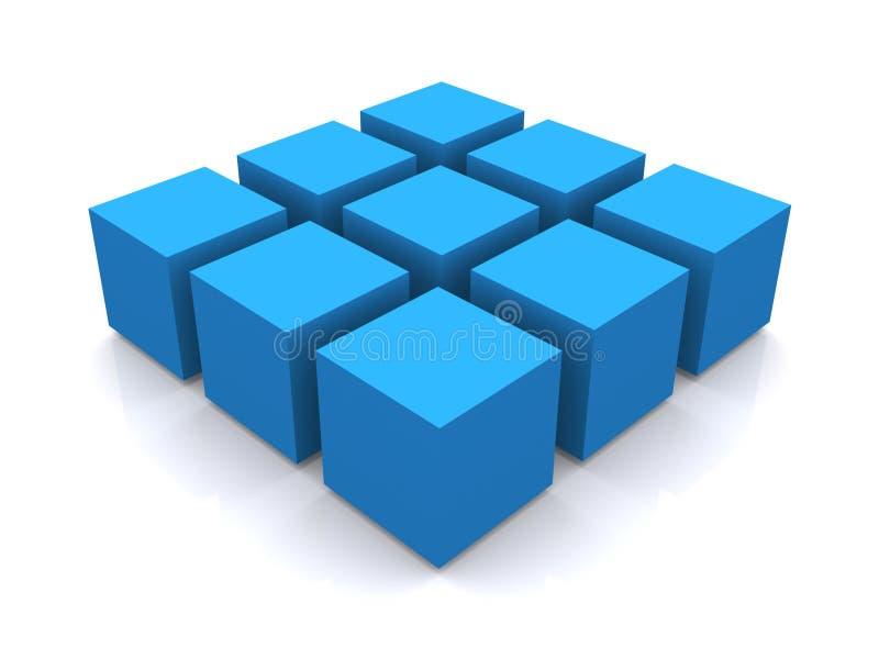 3d蓝色多维数据集正方形 库存例证