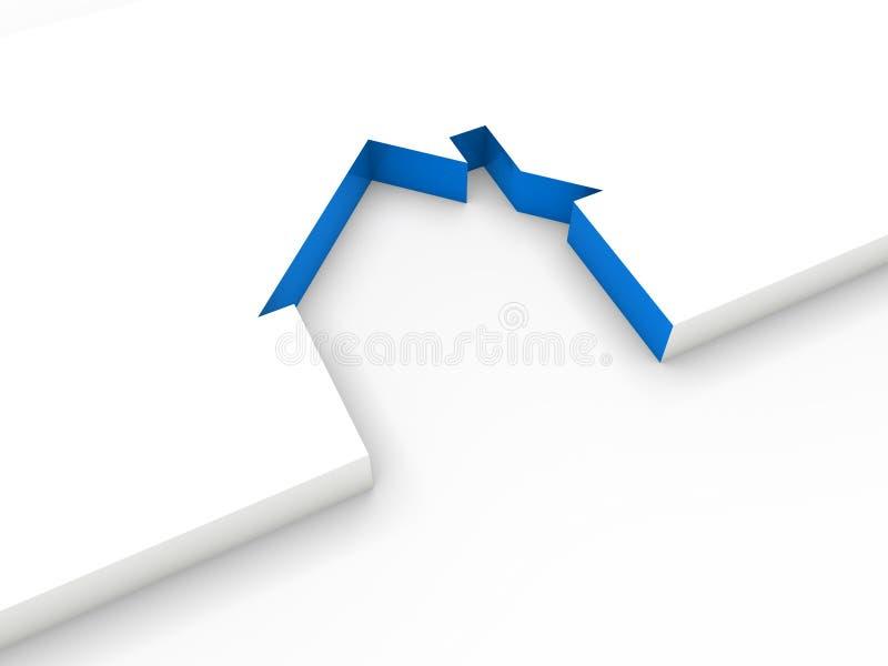 3d蓝色房子线路 皇族释放例证