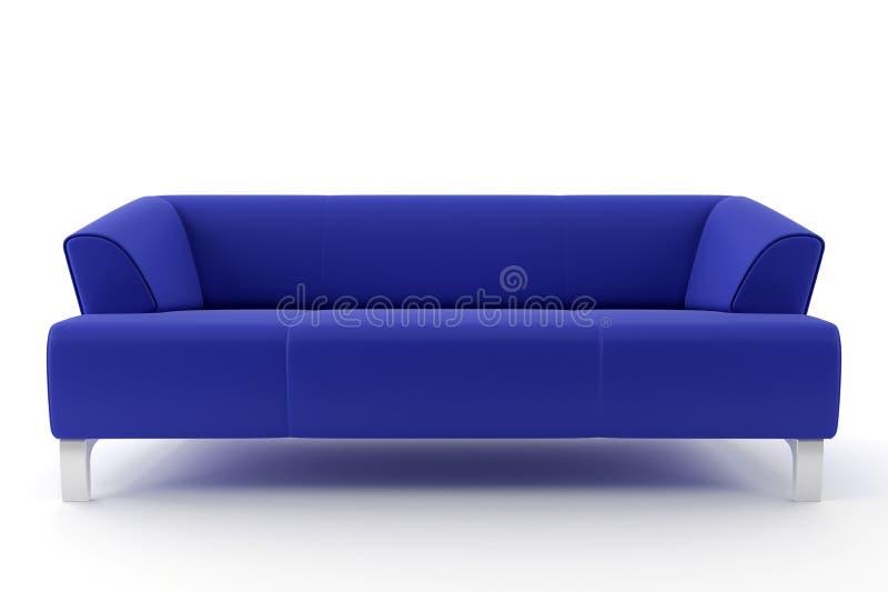 3d蓝色查出的沙发 库存例证