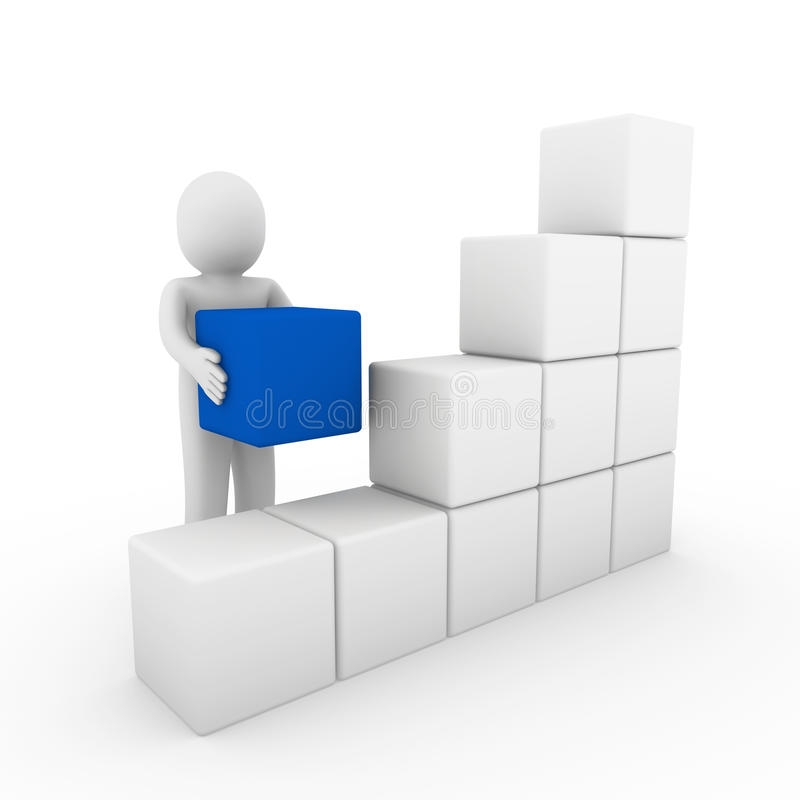 3d蓝色框多维数据集人力白色 皇族释放例证