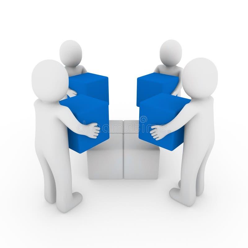 3d蓝色框多维数据集人合作白色 向量例证
