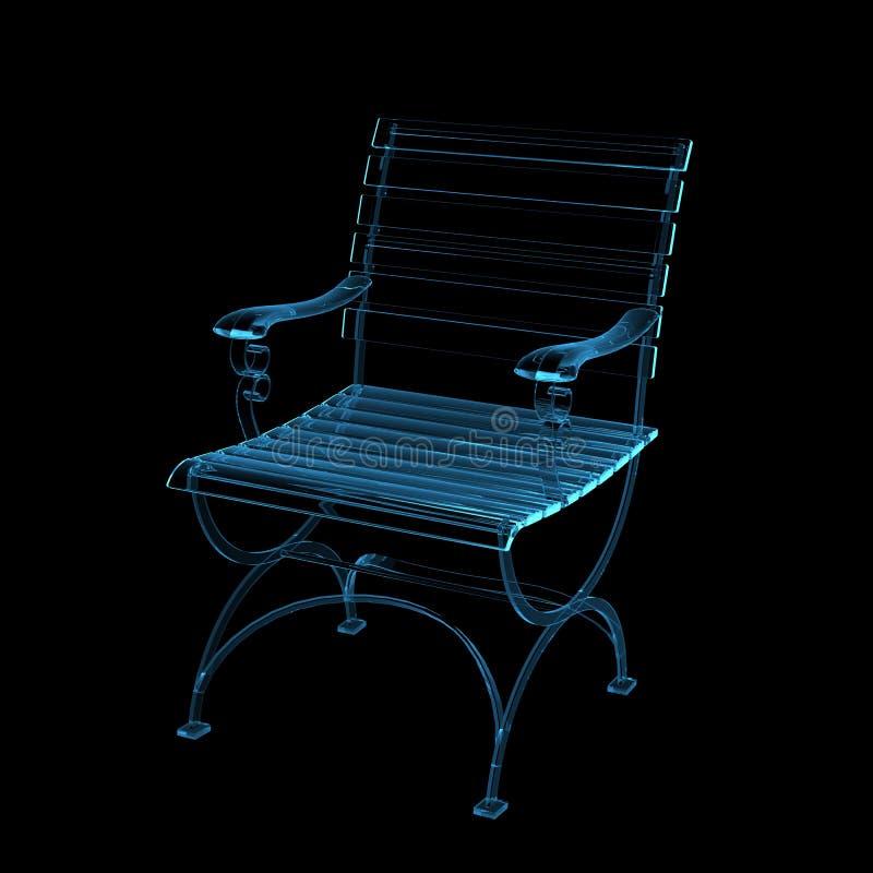 3d蓝色椅子公园回报了X-射线 向量例证