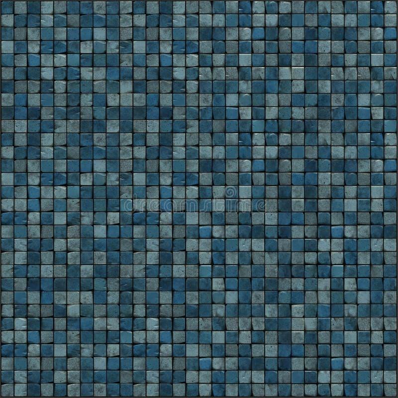 3d蓝色楼层大马赛克回报墙壁 向量例证