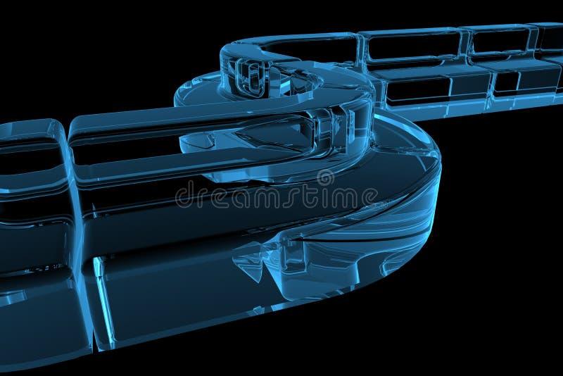 3d蓝色沙发透明X-射线 皇族释放例证