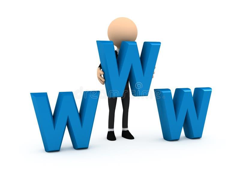 3d蓝色生意人在万维网上写字 皇族释放例证