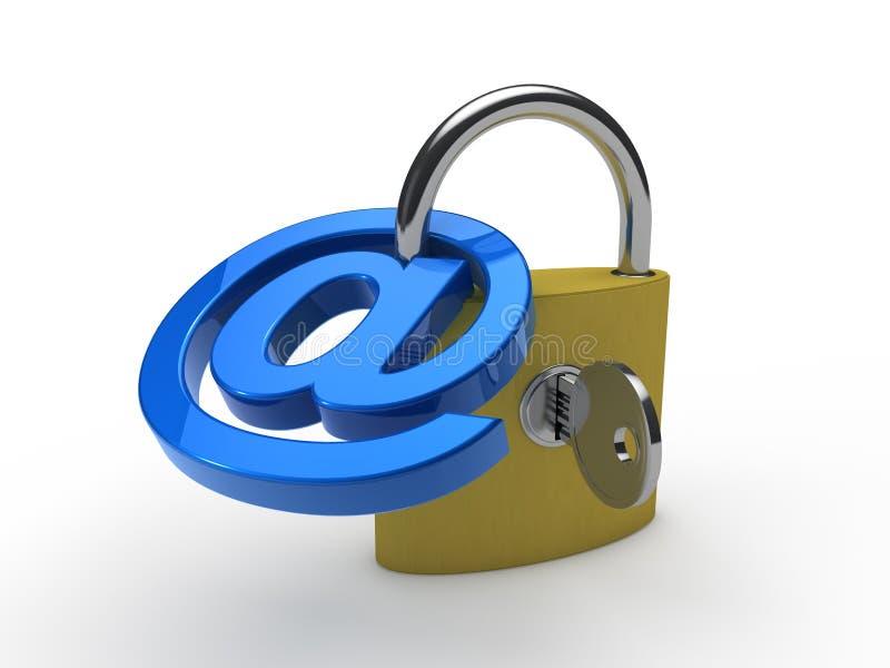 3d蓝色电子邮件挂锁 向量例证