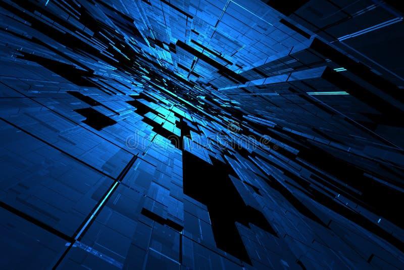 3d蓝色空间 皇族释放例证