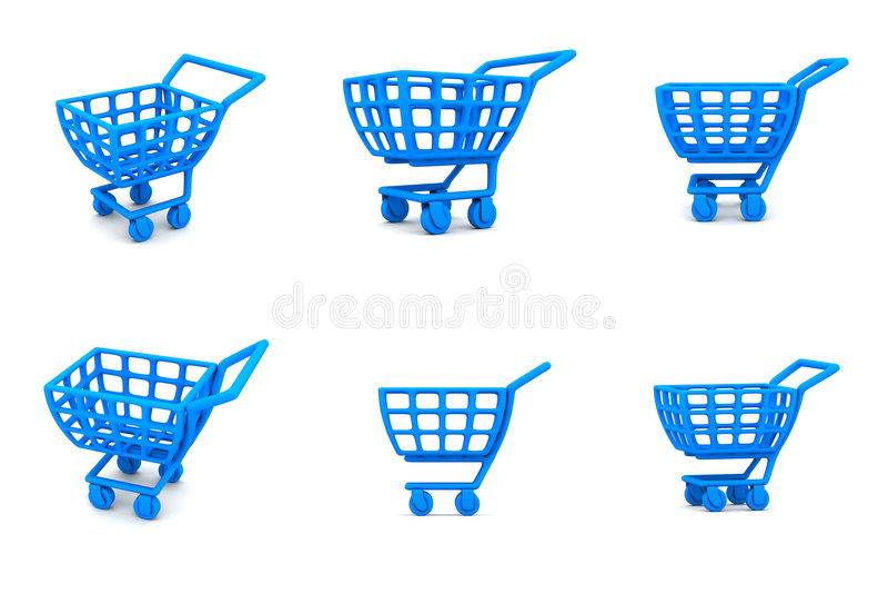 3d蓝色购物车多个购物