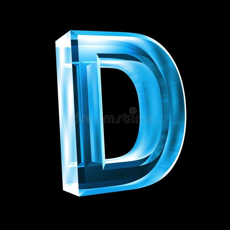 3d蓝色d玻璃信函 库存例证
