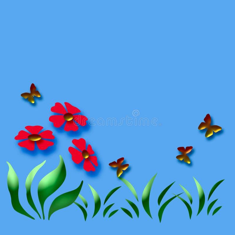 3d蝶粉花 向量例证