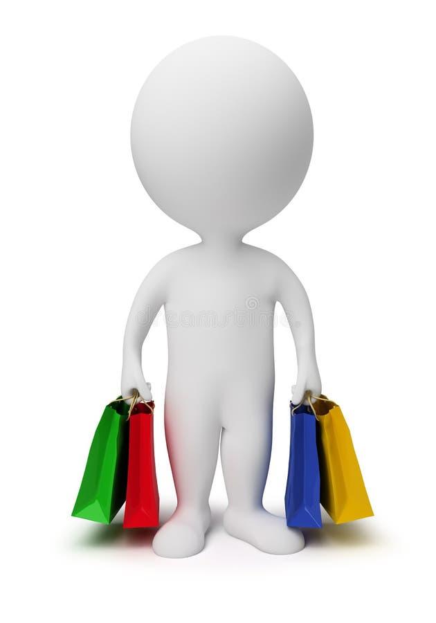 3d袋子运载小人的购物 库存例证