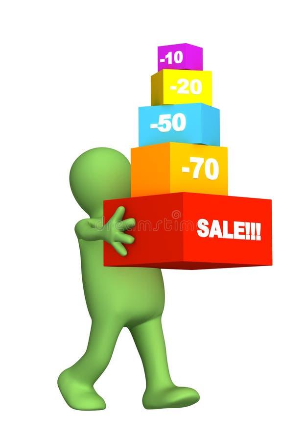3d被采购的贴现货物木偶 库存例证