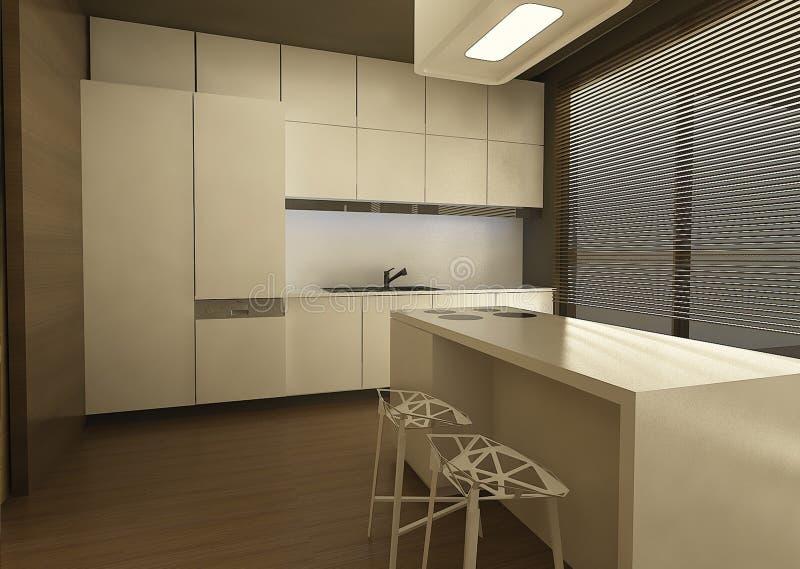 3d设计厨房 免版税库存照片
