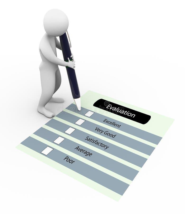 3d评估人调查表 向量例证