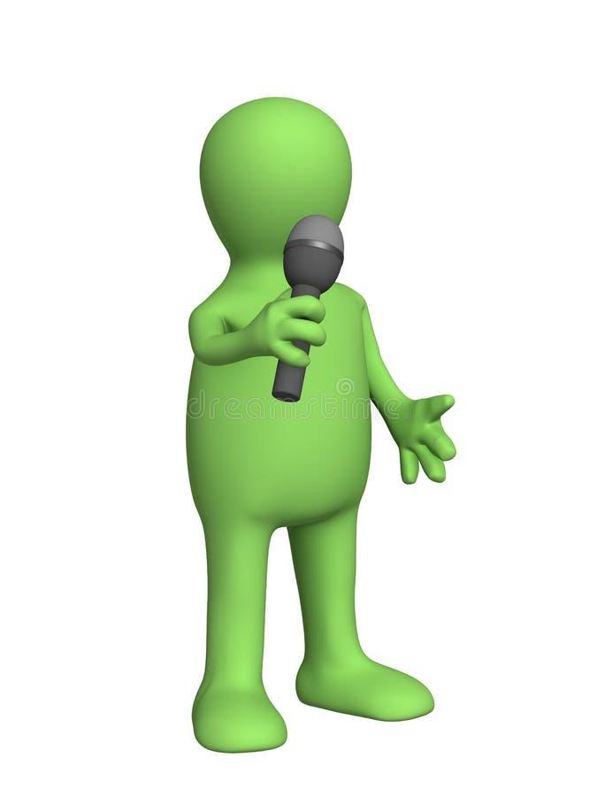 3d话筒人员木偶唱歌 向量例证