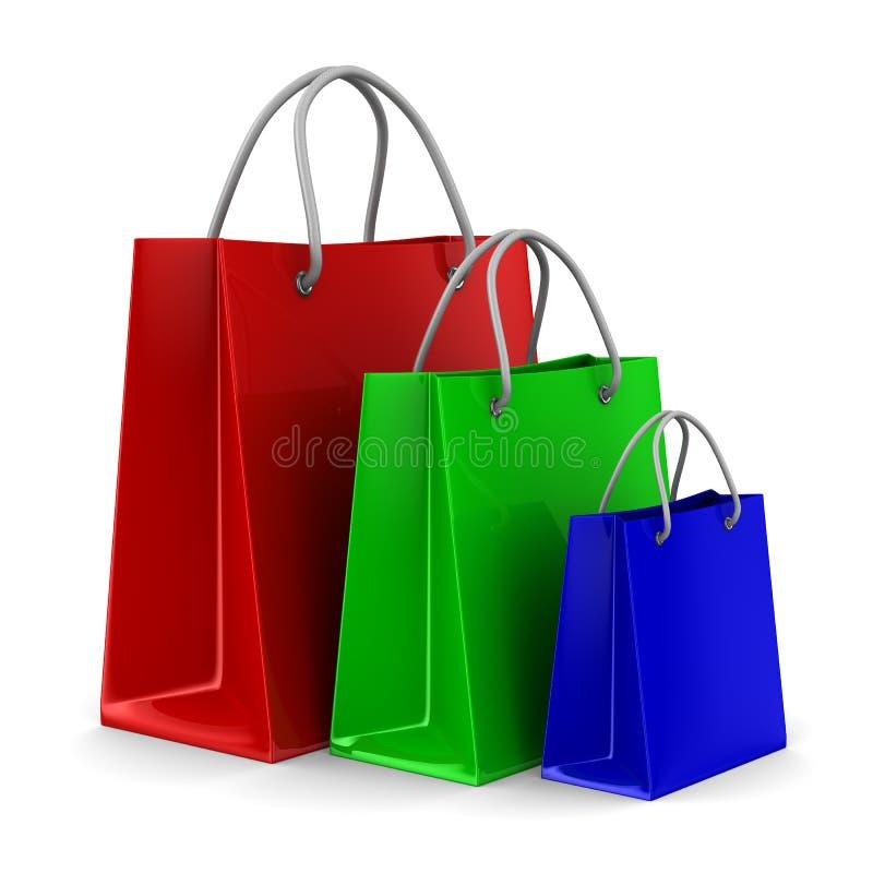 3d请求查出的shoping的三白色 库存例证