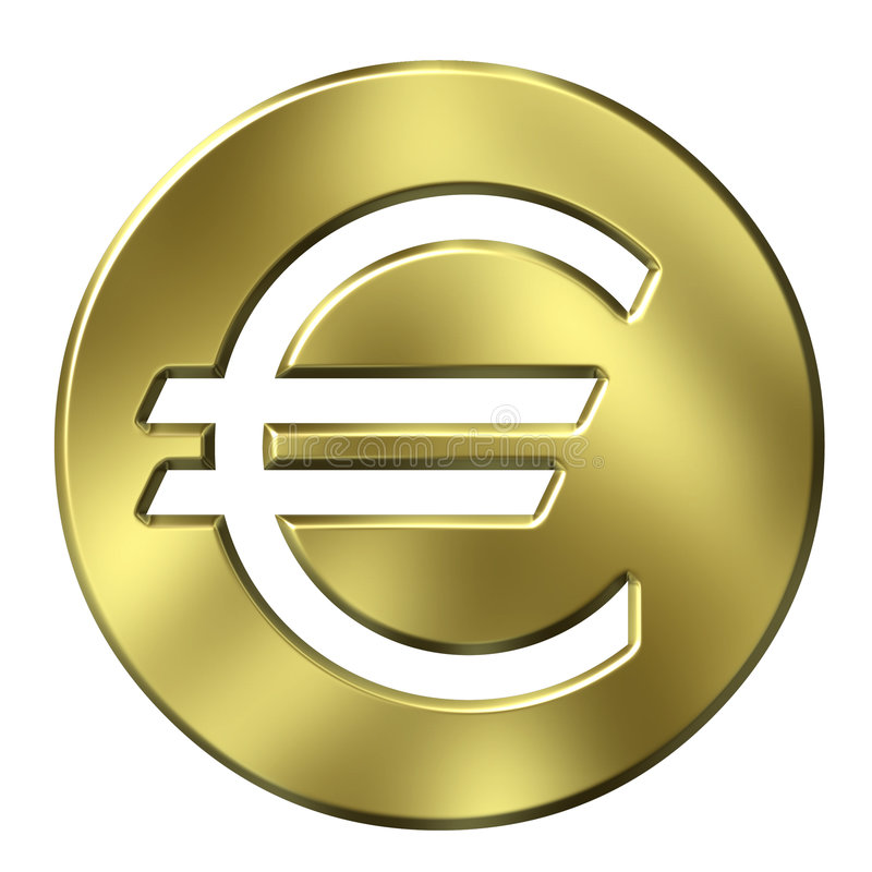 3d货币欧洲构成的金黄符号 向量例证