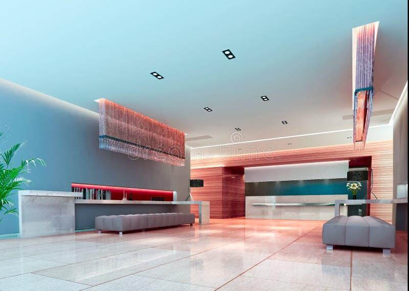 3d走廊未来派大厅 向量例证