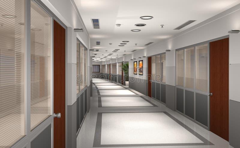 3d走廊现代办公室 库存例证
