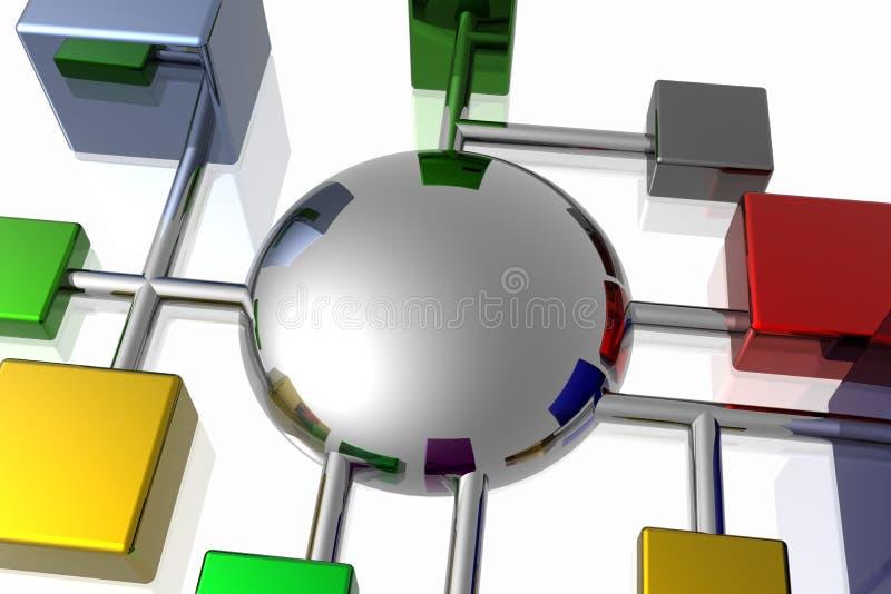 3d连接数网络 向量例证