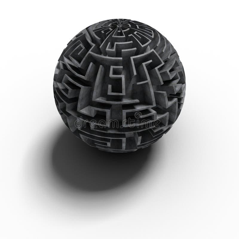 3d迷宫大球状 向量例证