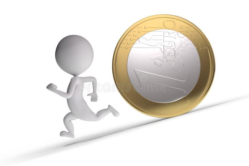 3d追逐了硬币人 向量例证