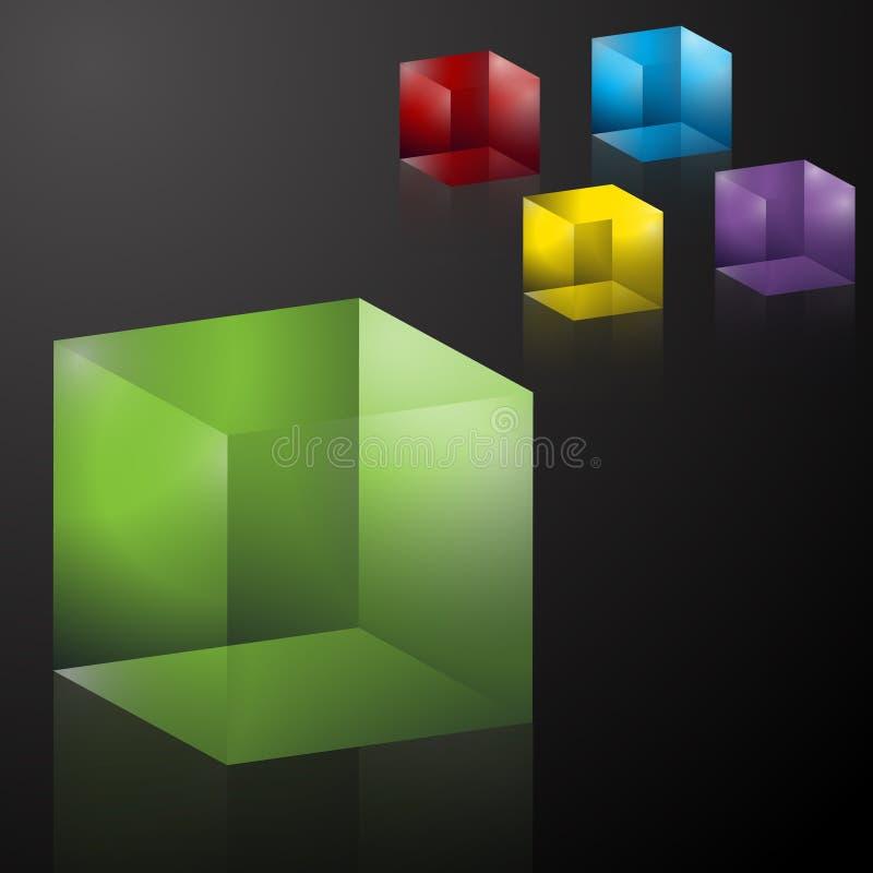 3d透明五颜六色的多维数据集 皇族释放例证