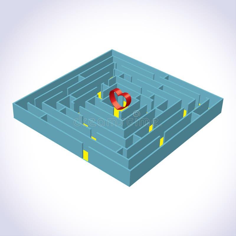 3d重点迷宫 向量例证