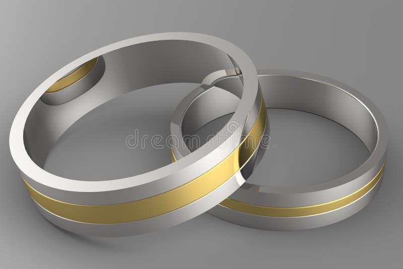 3d金子婚戒 向量例证