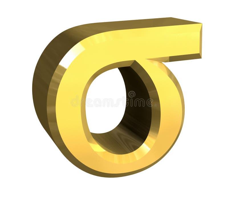 3d金子斯格码符号 皇族释放例证