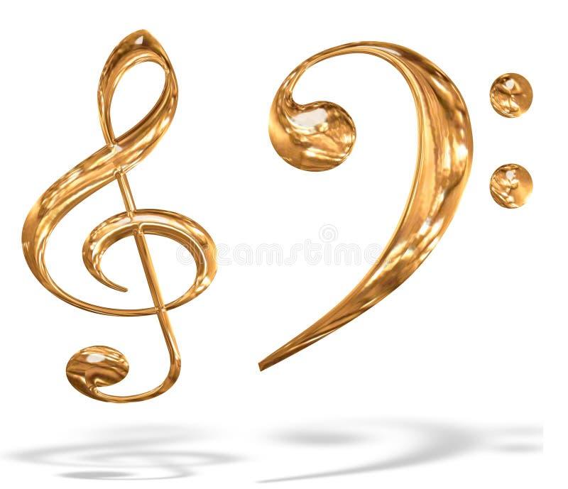 3d金子查出的关键音乐模式符号 向量例证