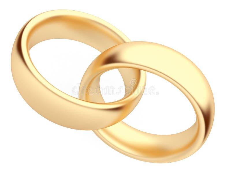 3d金子查出的爱环形符号婚礼 库存例证