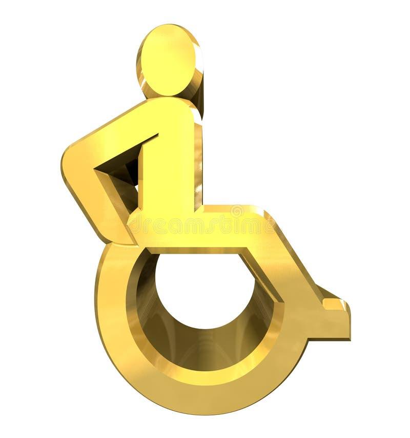 3d金子符号普遍性轮椅 皇族释放例证