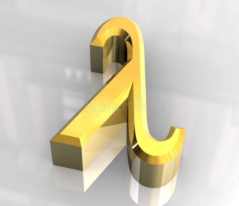 3d金子lambda符号 库存例证