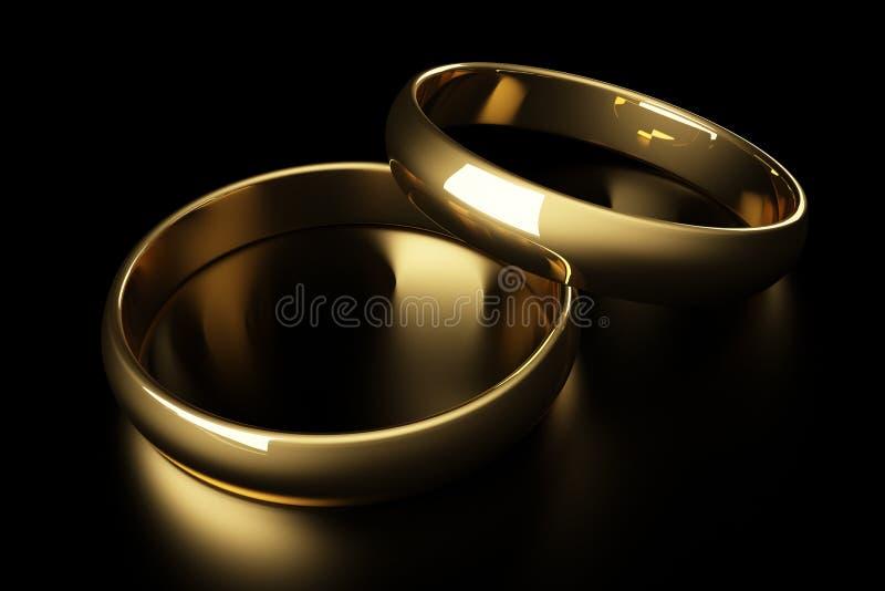 3d金戒指婚礼 向量例证