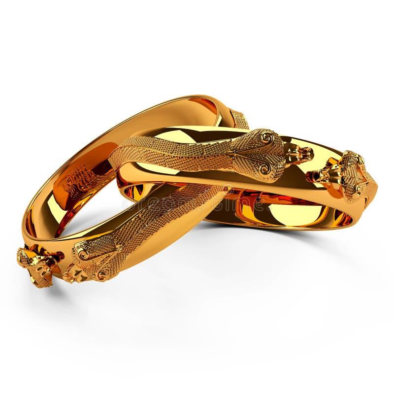 3d金戒指蛇 向量例证